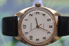 MEN'S VERY BIG VINTAGE MECH. RUSSIAN VOSTOK GOLD-PLATED WATCH 17 JEWELS!