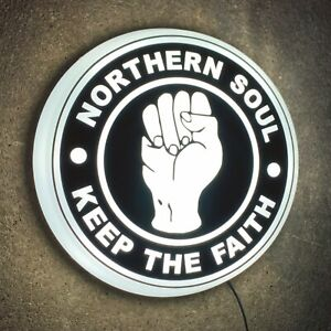 NORTHERN SOUL Light up LED wall sign KEEP THE FAITH DANCING WIGAN CASINO MODS