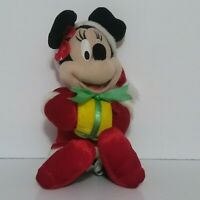 """Disney Santa Holding A Present Holiday Christmas Red Minnie Mouse 14"""" Plush"""