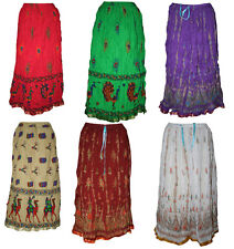 10 pc lot Printed Wrinkle Hippy Skirt Indian Rock Retro Boho Gypsy Around Skirt