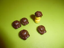 Lego Figuren: 5 x schöne Haare für Frauen oder Mädchen dunkelbraun