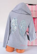 NWT VICTORIA'S SECRET VS Angel Wings Sequins Bling Logo Zip-Up Hoodie Jacket XS