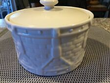 Longaberger Pottery Woven Traditions Ivory Drum Crock Covered Casserole