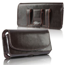 Men's Genuine Leather Cell Phone Pouch Case Cover Belt Loop Holder Horizontal