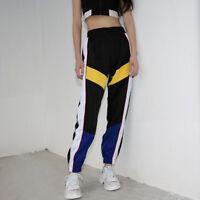 Women Hip-hop Style Sweatpants Patchwork High Waist Pants Sport Trousers