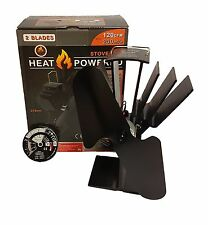 heat powered stove top fan & thermometer wood/coal fire burner (eco friendly)