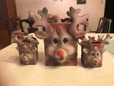 Lot 3 Rudolf Red Nose Reindeer Porcelain Bags Figurine Set*-