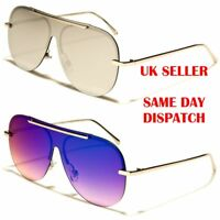 Shield Oversized Flat Pilot Designer Mens Womens Metal Sunglasses 100%UV400 2048