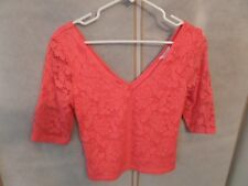 Candie's Women's Coral Pink Lace Top Size Juniors Med