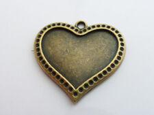 5 X Tibetana Estilo Corazón de cabujón de configuración de bronce antigua de 28mm, Lf Nf, bandeja de base