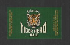 """1970s Schmidts Tiger Head Ale Beer Bottle Label 2"""" X 3.5"""""""