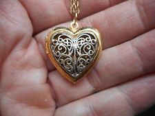 Authentic Vintage-1970's Two Tone Heart Locket Pendant/Necklace