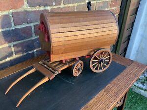 Vintage Handmade Wooden Bow Top Gypsy WoodenCaravan Model