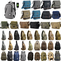 Herren Vintage Leinwand Umhängetasche Satchel Schultertasche Backpack Rucksack