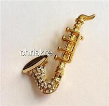 Gold Plated Crystal Saxophone Pin Brooch Jazz Sax Music Teacher Musician Gift