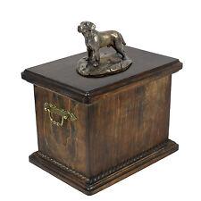 madera maciza Ataúd Labrador CONMEMORATIVO Urna para de perro Ashes Con Estatua