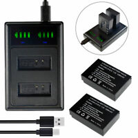 2xLP-E12 Battery +LED Charger w/ Cable for Canon EOS-M Mirrorless Digital Camera