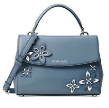 01024d9848f8 New Michael Kors Flowers Ava Small Leather Top Handle Satchel Purse Blue  floral