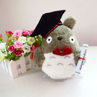 Dr. Totoro with Post-graduate Hat Plush Toy Soft Stuffed Doll Graduation Gift
