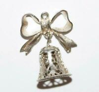 Moving Wedding Bell With Heart Detail Sterling Silver 925 Vintage Bracelet Charm