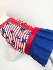 Patriotic Fourth Of July Stars And Stripes Dog Harness Vest Dress Ruffle Skirt