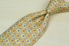 Hermes Yellow Blue Red Circular Whimsical Pattern Silk Tie EUC 7969FA France