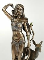 """10"""" Artemis Greek Goddess of the Hunt Moon and Chastity Statue Bronze Finish"""