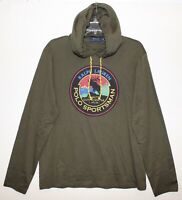 Polo Ralph Lauren Mens Olive Green Polo Sportsman Hoodie L/S T-Shirt NWT Size M