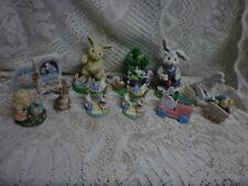 (10) Easter Figurines (8) Resin & (2) Wood. Easter Bunnies , Rabbits.