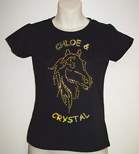 Girls/Womens Personalised Rhinestud Horse T-Shirt Include Horse/Rider Names