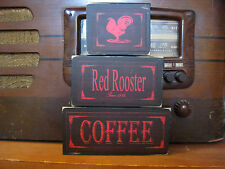 Red Rooster Coffee Primitive Rustic Stacking Blocks Wooden Sign Set