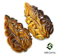 Natural Tiger Eye Handmade Carving Pair 30x17 mm 28.70 CTS Loose Gems