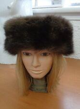 MINT BROWN OPOSSUM FUR & CLOTH HAT CAP WOMEN WOMAN SIZE ALL