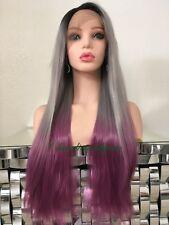 "Pastel Rainbow Gray Purple Wig Straight Ombre Dark Roots Heat Resistant 26"" Lon"