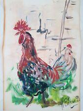 """Peinture signée. Painting signed  Marie-Pierre ESTEVE """"coqs dans la bassecour"""""""