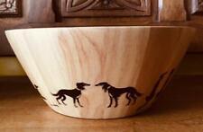 More details for 7524 dianne heap saluki unique art on display wooden bowl sighthound lurcher dog