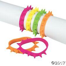 12 Spike Rubber Bracelets Neon Girls Kids Birthday Party Favors Jewelry Gifts