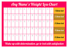 Personalised Weight Loss Chart - 5 stone - Laminated with 1 sheet of stickers