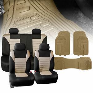 Seat Covers for Car Suv Van Air Mesh Beige W/ Beige Heavy Duty Floor Mats