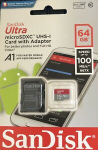 SanDisk Ultra 64GB Class 10 microSDXC UHS-I Memory Card with Adapter 100mb/s