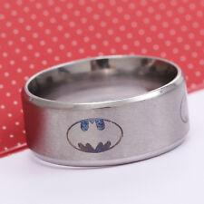 Fashion Superman Ring Silver Men Superhero Kid Rings Stainless Steel Hero Size8