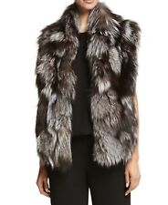 NWT, Vince Silver Fox Fur Vest Size L 100% Authentic Upscale Stunning Must Have