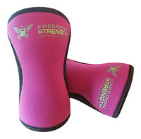 PAR Rodillera Rosa 7mm para crossfit strongman levantamiento pesas