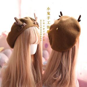 Christmas Antlers Beret Cute Lolita Girl Hat Painter Cap Winter Accessories Sa