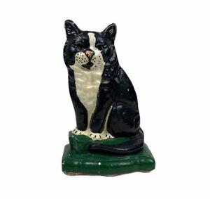 "Cast Iron Tuxedo Cat Doorstop Door Holder 7.5"" Rare Black White Painted Vintage"