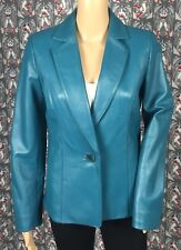 Valerie Stevens Women's Blue Fitted Leather Blazer Jacket Sz S Two Front Pockets