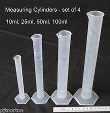 Measuring Cylinder set of 4 - 10ml 25ml 50ml 100ml  Polypropylene NEW Plastic