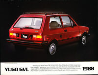 1988 Yugo GVL Luxury 1-page Original Car Sales Brochure Fact Sheet - Fiat 127
