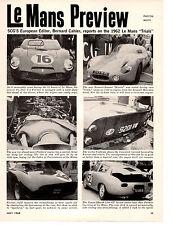 1962 24 HOURS OF LE MANS RACE ~ ORIGINAL 7-PAGE PAGE ARTICLE