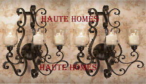 "NEW TUSCAN LARGE 26"" H IRON SCROLL ORNATE Candle Holder Wall Sconce SET/2"